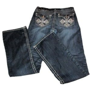 LA Idol Rhinestone Cross Embellished Jeans 31x34